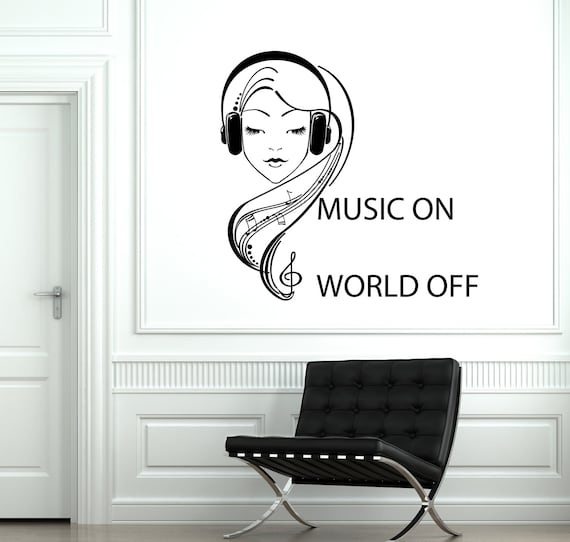 Wall Vinyl Decal Music On World Off Quotes Headphones Notes | Etsy