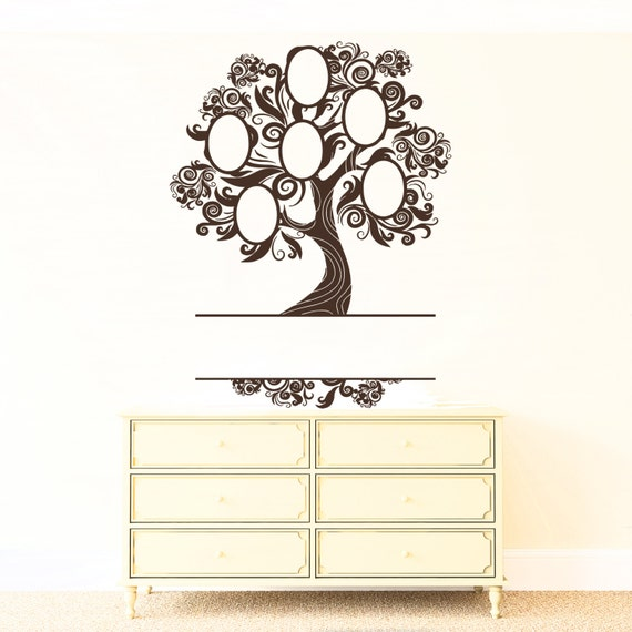 Wall Vinyl Decal Family Tree with Oval Picture Frames on Tree Branches Genealogy Modern Home Decor #1152dz