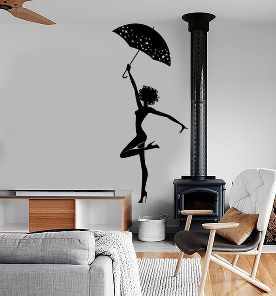Wall Vinyl Decal Girl Beauty Pretty Sexy With Umbrella Etsy