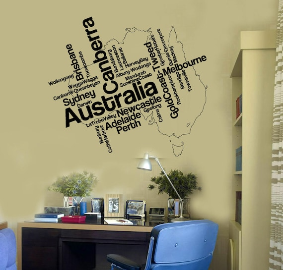wall vinyl decal australia map and many names cities