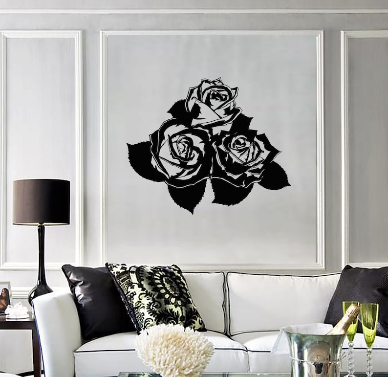 #1240di Wall Vinyl Decal Flower Roses Bouquet Ornament Yoga Studio Floral Modern Abstract Home Art Decor
