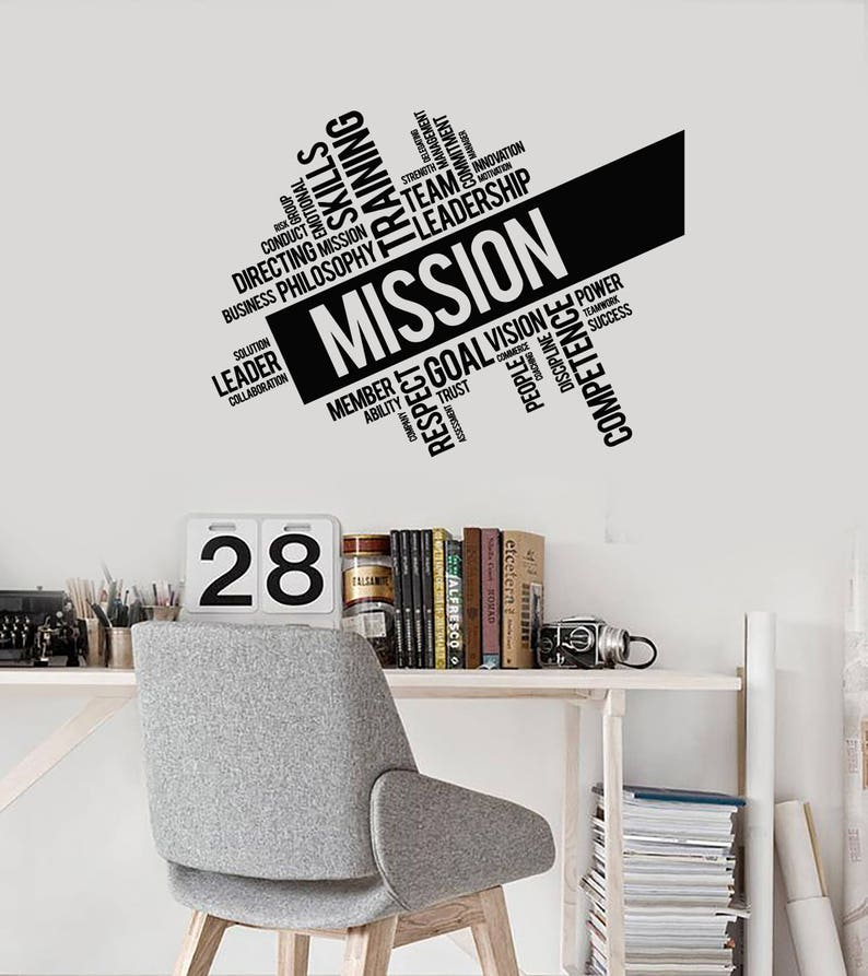 Büro Wörter Wolke Vinyl Aufkleber Mission Inspirierende Dekor Etsy
