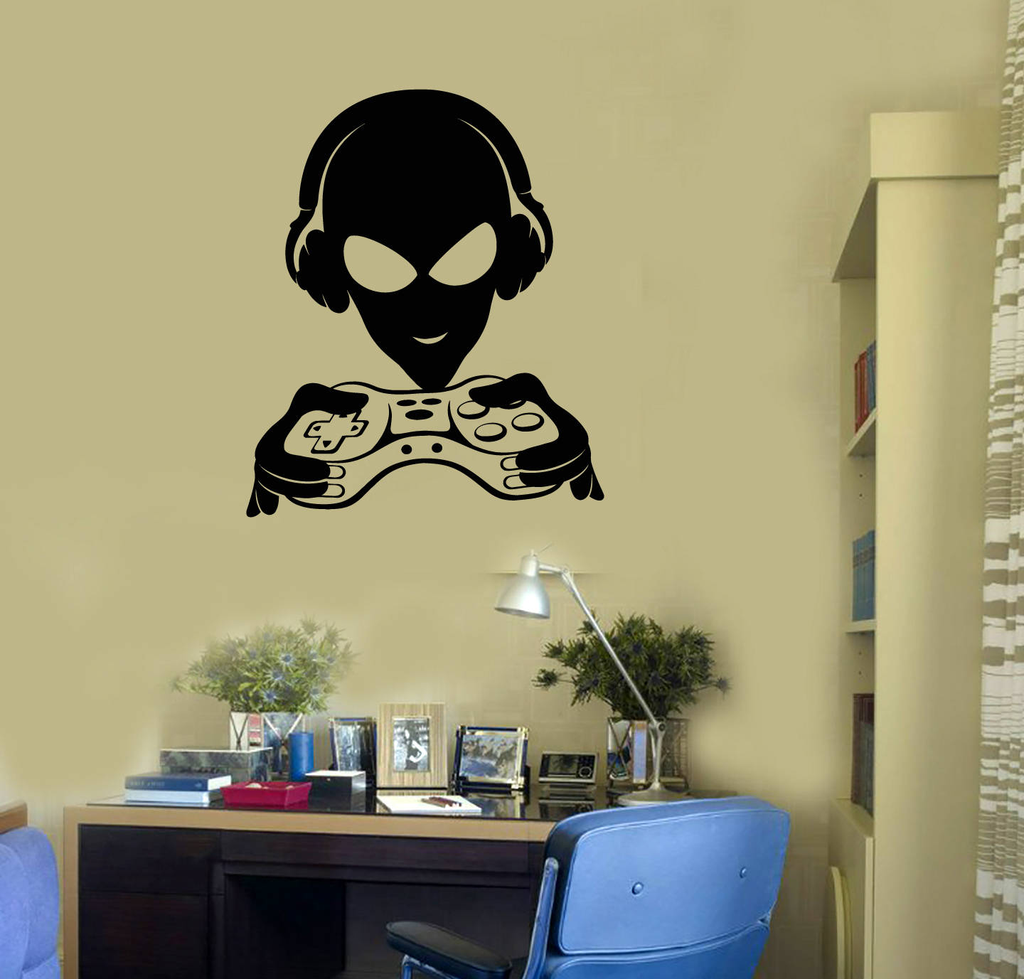 Alien Gamer Vinyl Wall Decal Joystick Video Games Teenage Room | Etsy