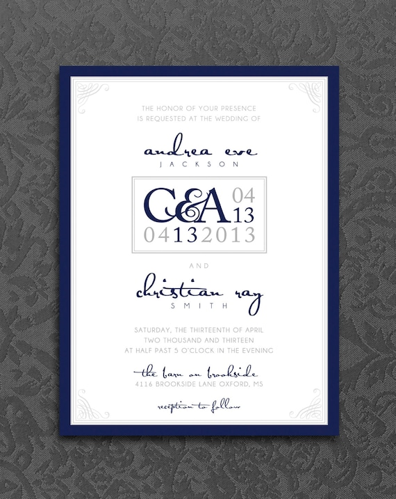 Wedding Ceremony Invitation Kit Modern Navy Blue Wedding Invite Logo Digital Pdf Personalized Wedding Invitation