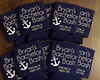 Custom Bachelor Party Coolie, custom beverage insulator, nautical party
