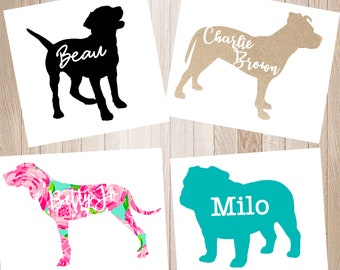 Dog Vinyl Decal ; Dog Mom Decal ; Personalized Name Dog Decal ; Puppy Sticker ; Lilly ; Custom Decal ; Yeti Cup Decal ; Custom Vinyl Sticker
