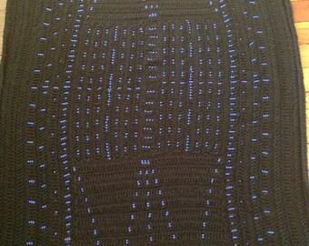 Beaded crocheted black Afghan