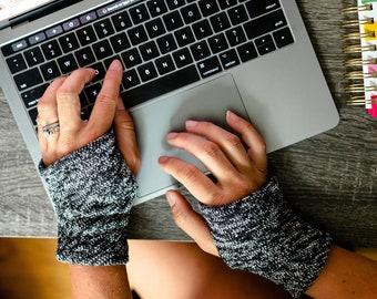 Sleek Black White Tweed Hand Warmers Fleece lined, Unisex Wrist Warmer computer, Typing Gloves, Fingerless Gloves for coder, office wear