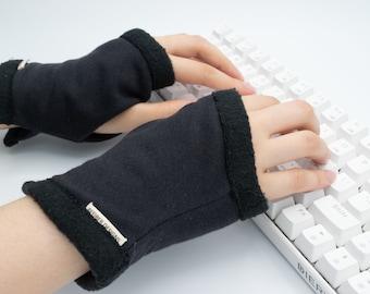 Organic Cotton Basic Black Computer Gloves, Texting glove, hand warmers Fleece lined, gamer style, unisex, knit wrist warmer, office wear