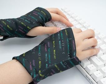 JavaScript Coding Gloves, Hello World, Hand Warmer Fleece lined, Unisex Wrist Warmer computer, Typing Glove, Black Fingerless Glove texting