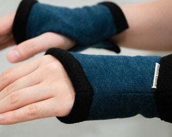 Blue Heather Fingerless Gloves, Typing Texting Gloves Fleece lined, unisex hand warmer, knit wrist warmer, gaming and office, computer work