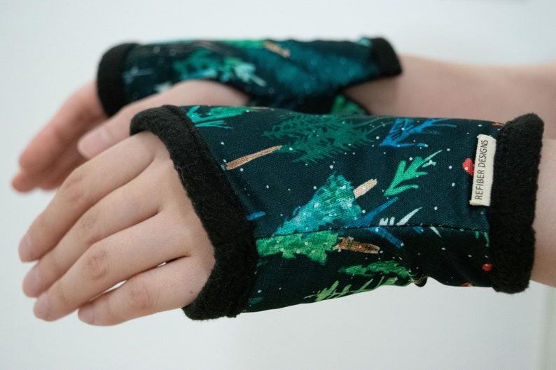 Forest Green Hand Warmer Fleece lined Unisex Wrist Warmer image 0
