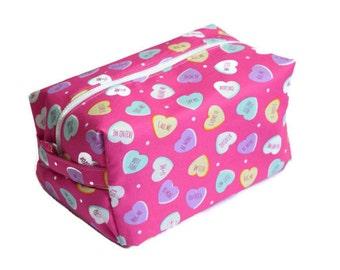 Pink Hearts Makeup Bag - Candy Hearts Makeup Bag - Pink Makeup Bag - Cosmetics Bag - Travel Pouch - Teen Gift