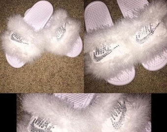 6bf57cdbee38 Fur Bling Nike Slides