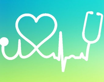 Heart stethoscope decal | Nurse decals | yeti decal | tumbler decal | window decal | car decal | phone decal | EKG decal | Love decal
