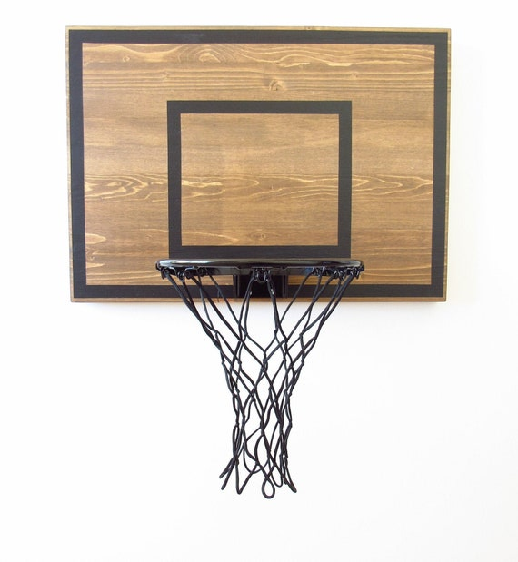 Rustic Wall Mounted Basketball Hoop Brown And Black Indoor Etsy