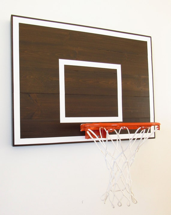 Exceptionnel Espresso And White Mini Indoor Basketball Hoop Decor For Office Playroom  Bedroom Or Basement Game Room Wall