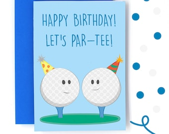 Golf Birthday Card Funny Pun Lets Party Personalised Message Lover Cards For Dad Grandad