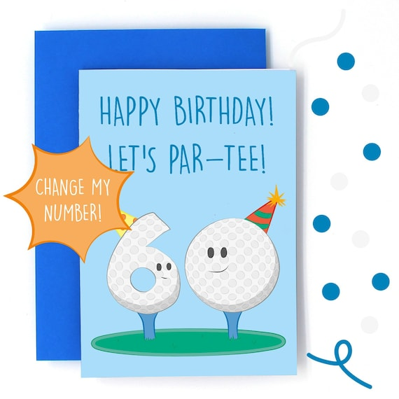 Change My Number Funny Golf Birthday Card Customisable