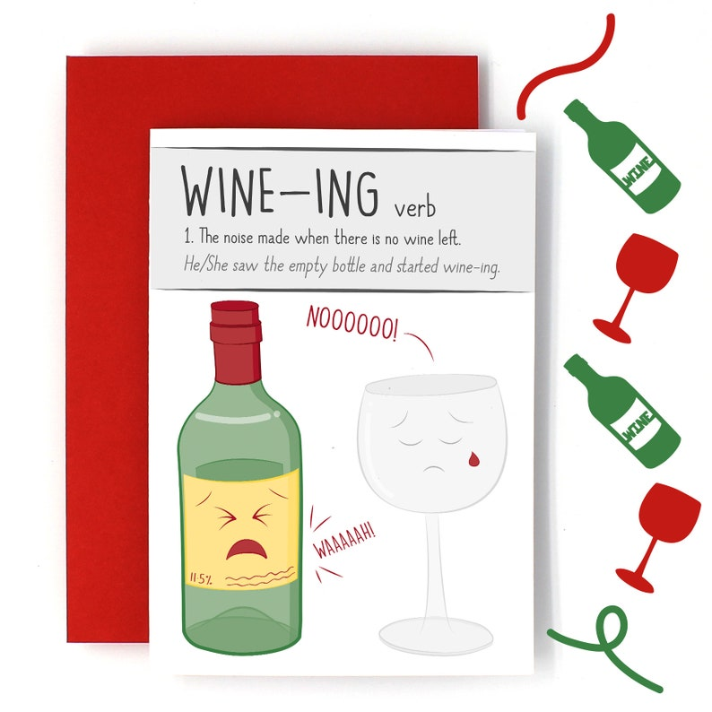 Funny Birthday Card Blank Greetings Wine Lover Cute