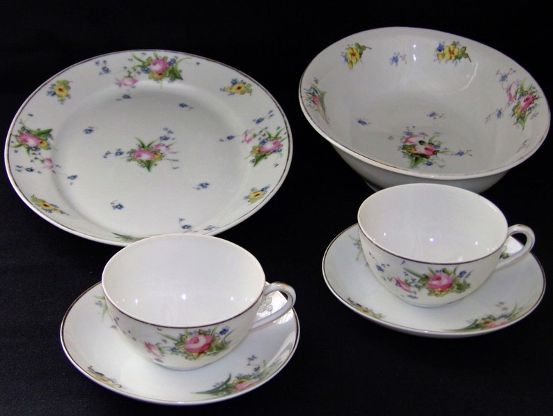 Antique Handpainted Nippon Porcelain China Cups Saucers Serving Platter &  Bowl c 1891-1921