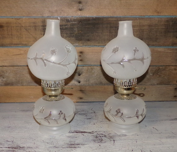 Vintage Frosted Glass Electric Hurricane Table Lamp Pair W Etsy