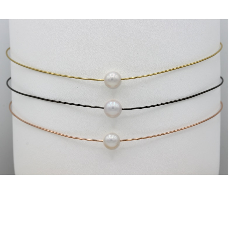 Rose or Black Over Sterling Silver Thin Wire Chain Adjustable High Quality Fresh Water Luster Pearl Pearl Necklace Choker Yellow