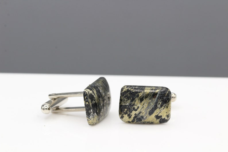 Gold Stone Cufflink for Men Jewelry Natural Apache Gold Natural Black Cufflink Mens Jewelry #16