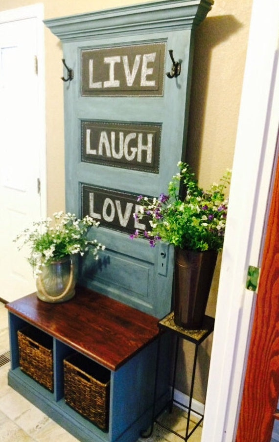 Reclaimed Vintage Door Hall Tree And Bench Etsy