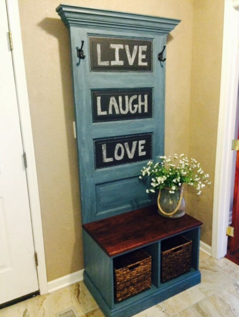 Exceptionnel Reclaimed Vintage Door Hall Tree And Bench