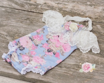 Newborn romper set floral