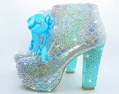 Mermaid Heels Glittery Mermaid Scale Aqua and Silver Rhinestone High Heel Ankle Boots Halloween, Fancy Dress, Party, Cosplay, Sweet 16