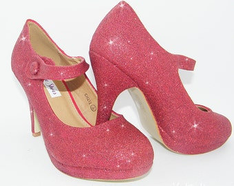 Wedding Shoes ~ Red glitter Mary Jane high heels ~ Bridal shoes 35c39b24c