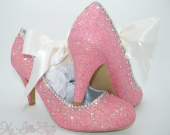 56899fd3fa1 Blush Pink and Clear AB rhinestone and satin ribbon Heels ~ Bridal shoes