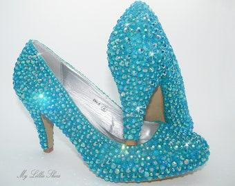 a6cf059454ff Bridal Shoes ~ Turquoise blue low