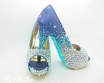 31b23e8847b80 Purple and Aqua Bling peep toe high heels ~ Wedding