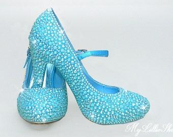174f8f8fa452 Shoes ~ Blue Ankle strap Heels ~ Wedding