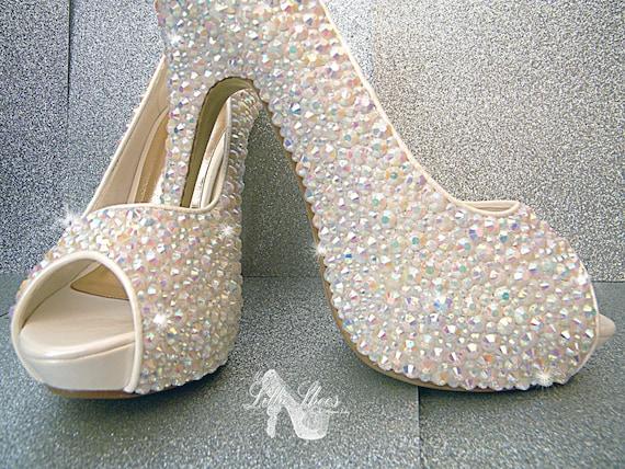 ~ Toe High Peep d Heels mariage demoiselle ~ Chaussures qv1pHH
