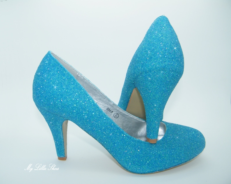 5df7fe021be Turquoise Blue Glitter Mid Court Low Heel Bridesmaid Bride