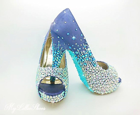 high Bridesmaid Sweet her Maid 16 of honour for toe Bling Party and Birthday Purple heels Wedding ~ Prom Pageant Gift Aqua peep zwq4nCX