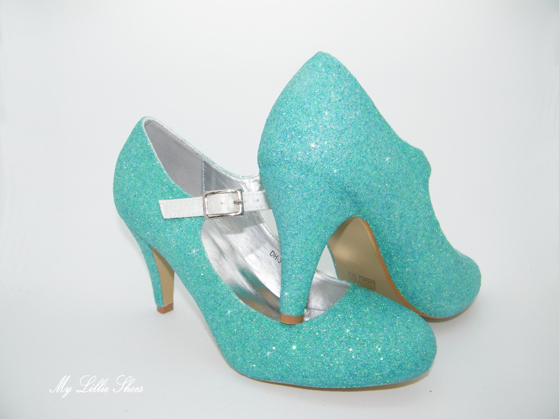 32c725b71c4 Seafoam mint blue green glitter mary jane low heels bridal etsy jpg  3000x2250 Mint green low