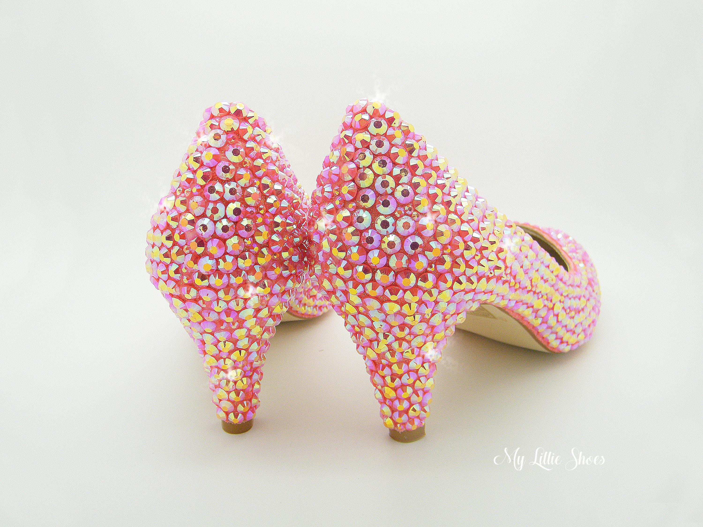 af34ff0cfed20 Rhinestone Low Heels Light Pink Bling Low Court Heels | Etsy