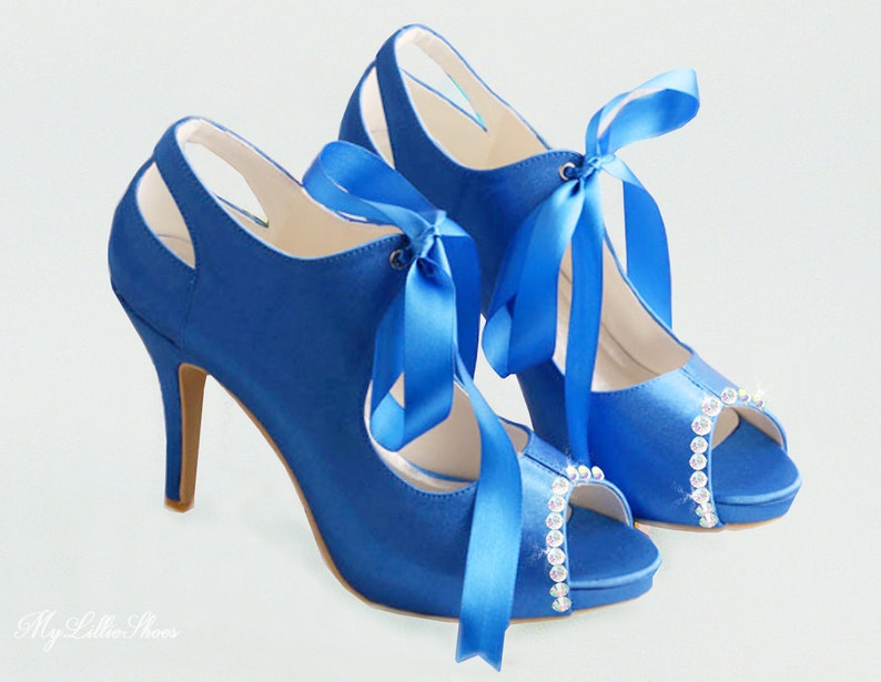 dbf5d1e2785 Shoes Royal blue satin embellished peep toe high heels