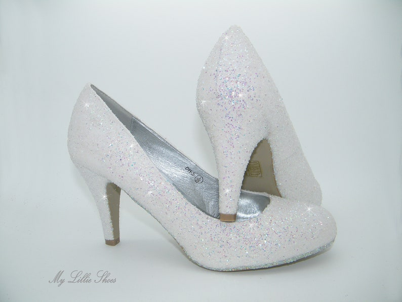 0069d098393 White glitter court low heels Comfortable wedding shoes Low