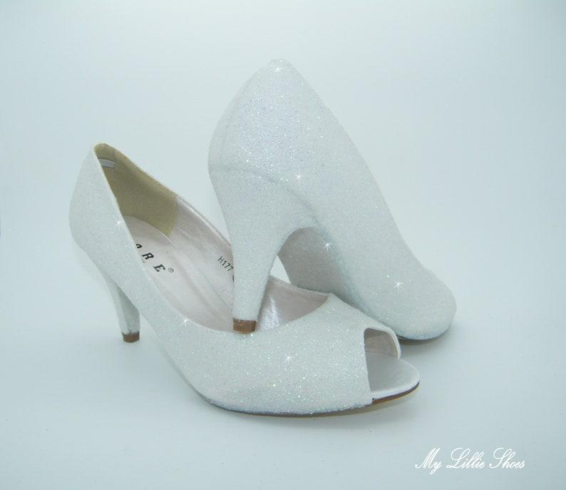 e0dc56339753 White Glitter Peep toe Low Heels Wedding Bridal Bridesmaid