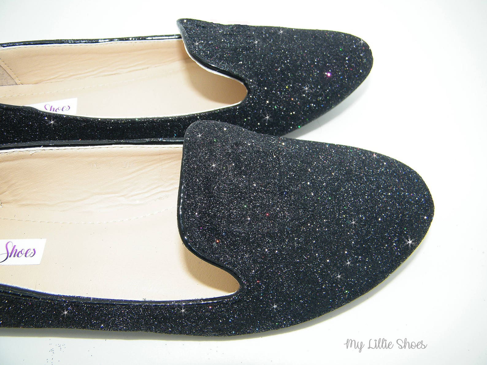 flat shoes ~ ballet flat black glitter loafer shoes ~ prom, causal shoes, sparkly shoes, party, comfortable bridal shoes, gift f