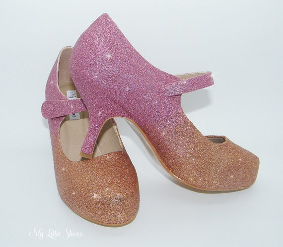 Bridal Shoes Pink and Champagne gold glitter mary jane heels  0eaa82f6124b