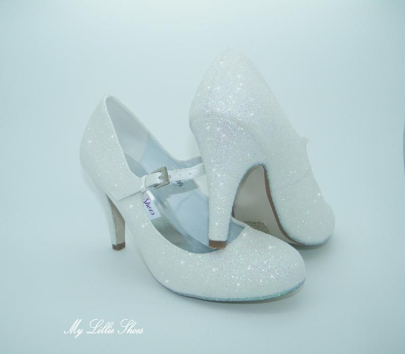 4b629ab2a8c2 White Glitter Mary Jane Mid Heels Wedding shoes Bridal