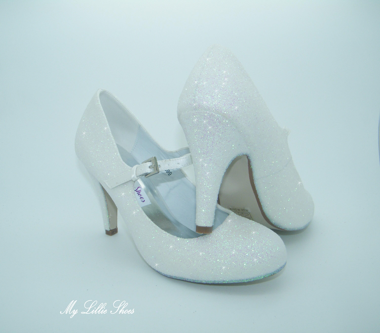 1eedea43d White Glitter Mary Jane Mid Heels Wedding shoes Bridal | Etsy