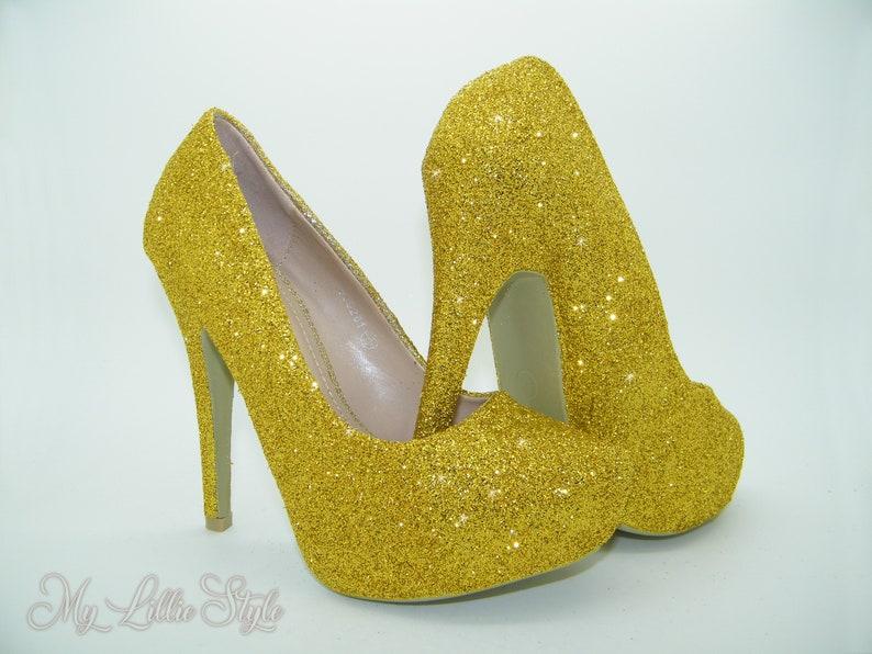 f3c87986e Gold Glitter Platform High Heels Asian Bride Indian Wedding | Etsy